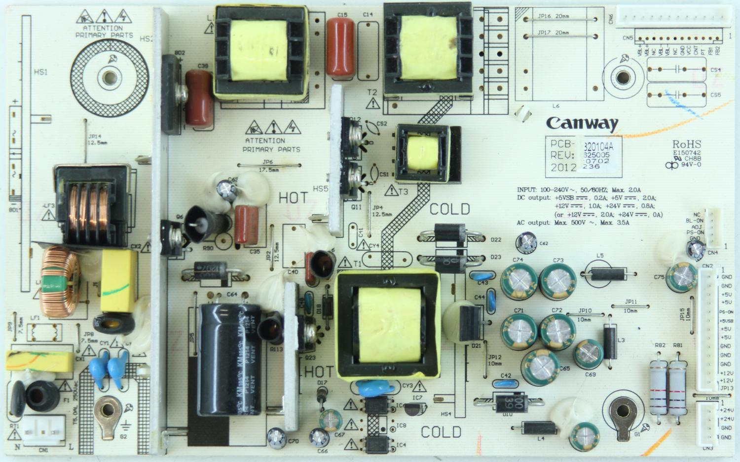 Cello C32119F - PSU - PCB-012 - REV:1.2 - KW-PIV320104A - ZL120625005 - 20120702