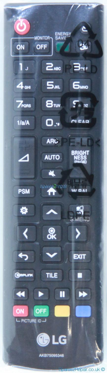 LG AKB75095346 Remote Control (Genuine) (New)