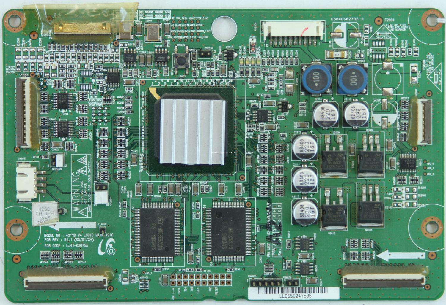 Philips 42PF3320/10 - LVDS - LJ41-03075A R1.1 - LJ92-01274D A1 - 42SD V4 LOGIC MAIN_ASIC
