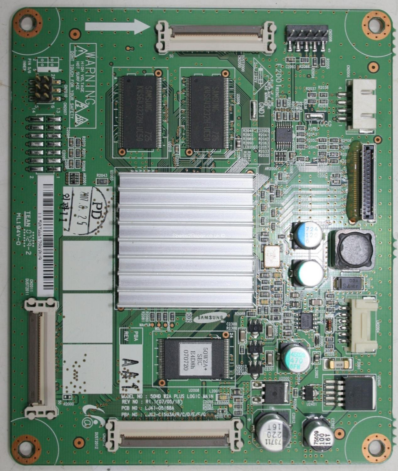 Samsung PS-50C96HD - LVDS - LJ41-05188A R1.1 - LJ92-01503A A1 - 50HD W2A PLUS LOGIC MAIN