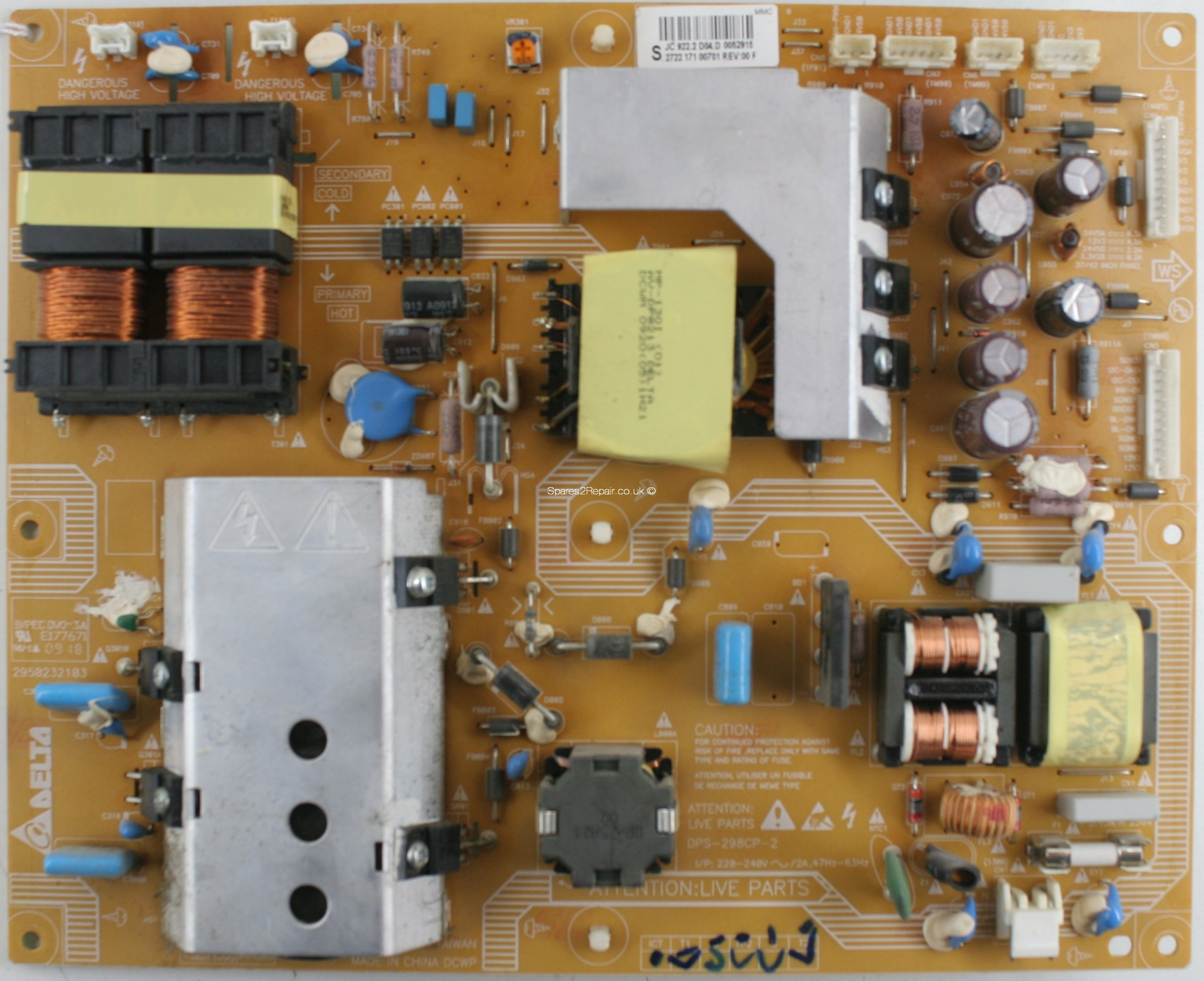 Philips 47PFL7404H - PSU - DPS-298CP-2 - 2950232103 - 2722 171 00701 - REV:00 F